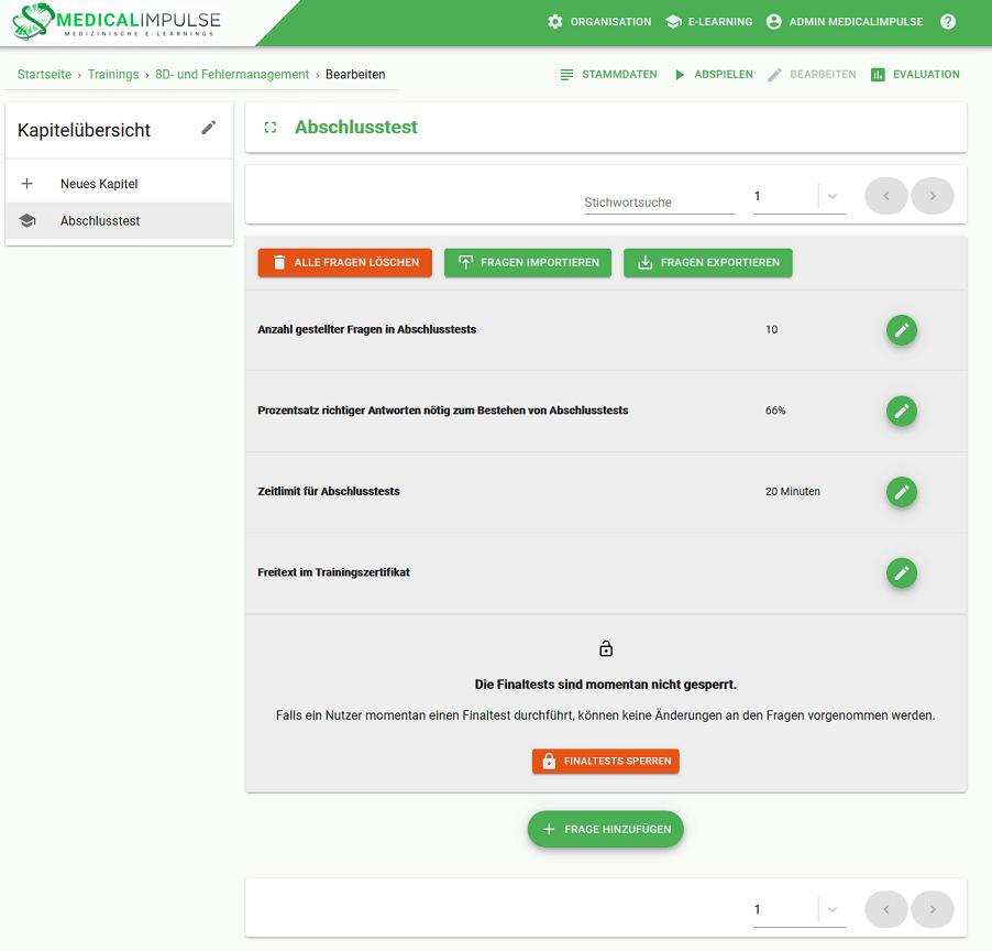 Learning platform TrainingsImpulse Test creation